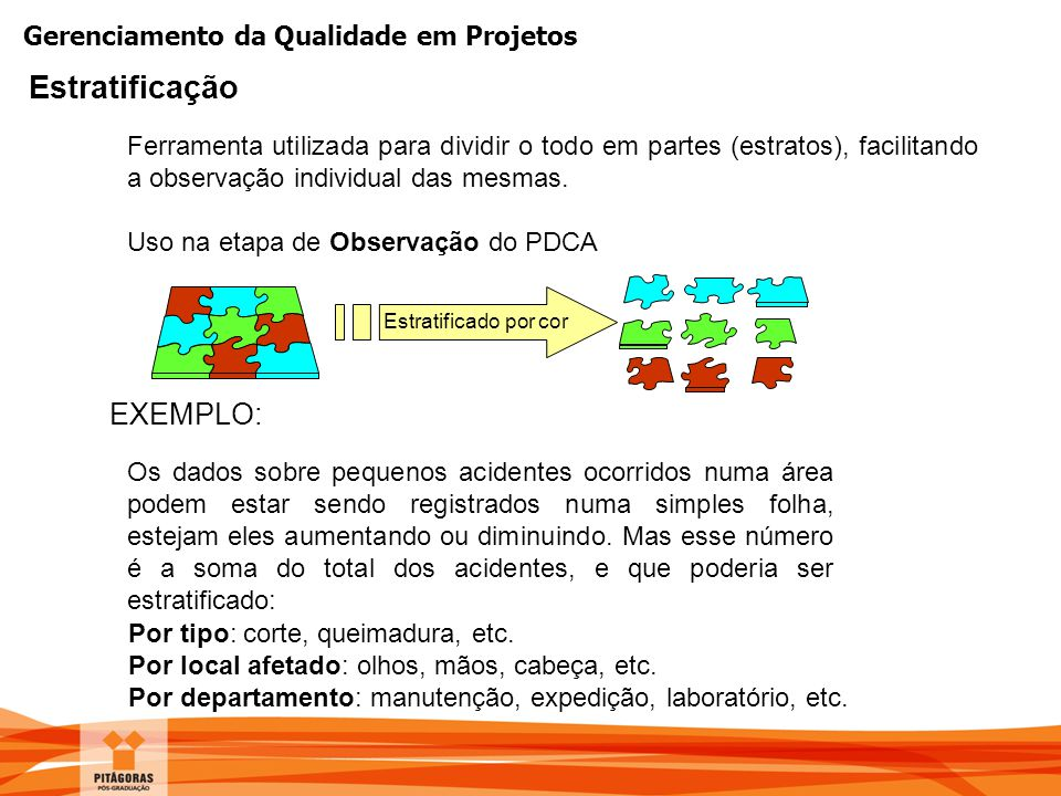 Gerenciamento da Qualidade em Projetos Ferramenta utilizada para dividir o todo em partes (estratos), facilitando a observação individual das mesmas.