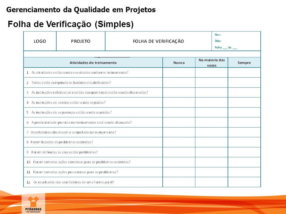 Gerenciamento da Qualidade em Projetos Folha de Verificação (Simples)