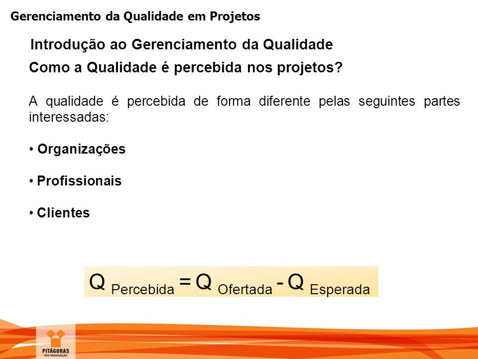 Gerenciamento da Qualidade em Projetos Como a Qualidade é percebida nos projetos? A qualidade é percebida de forma diferente pelas seguintes partes in