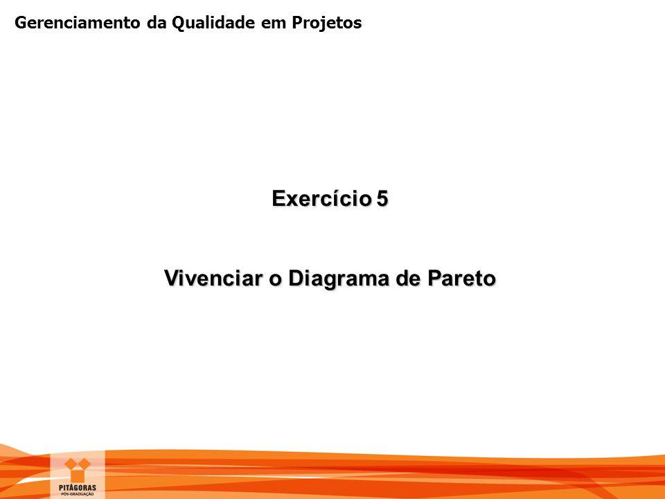 Gerenciamento da Qualidade em Projetos Exercício 5 Vivenciar o Diagrama de Pareto
