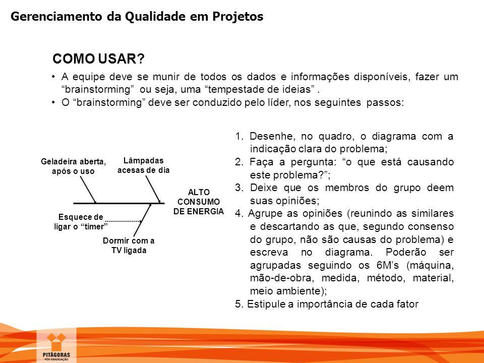 """Gerenciamento da Qualidade em Projetos COMO USAR? A equipe deve se munir de todos os dados e informações disponíveis, fazer um """"brainstorming"""" ou seja"""