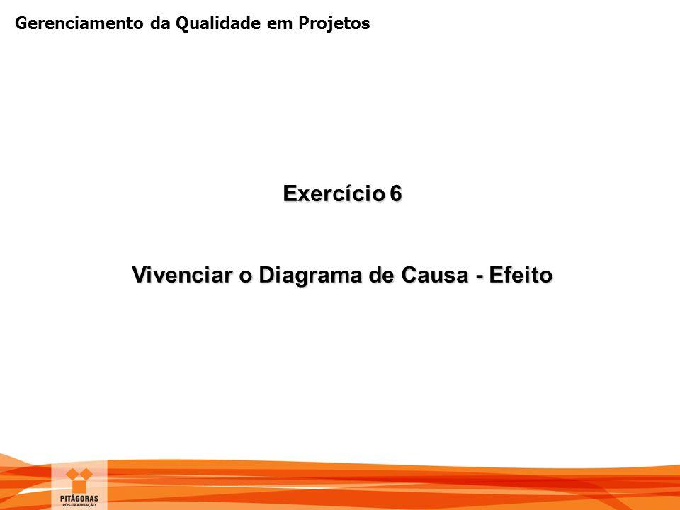 Gerenciamento da Qualidade em Projetos Exercício 6 Vivenciar o Diagrama de Causa - Efeito