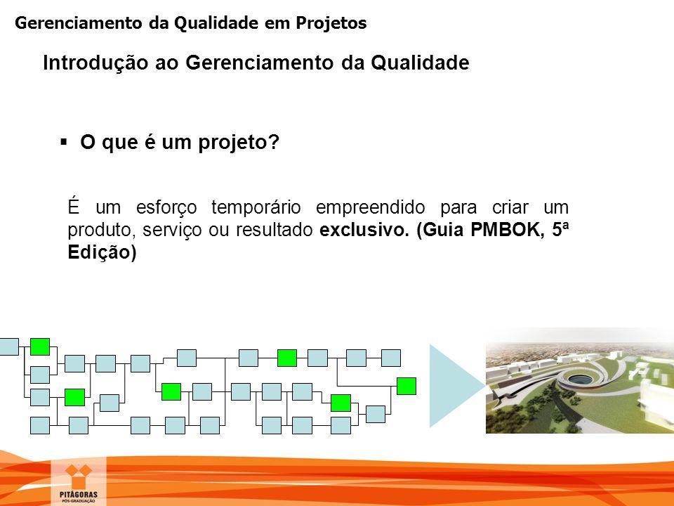 Gerenciamento da Qualidade em Projetos  O que é um projeto? É um esforço temporário empreendido para criar um produto, serviço ou resultado exclusivo