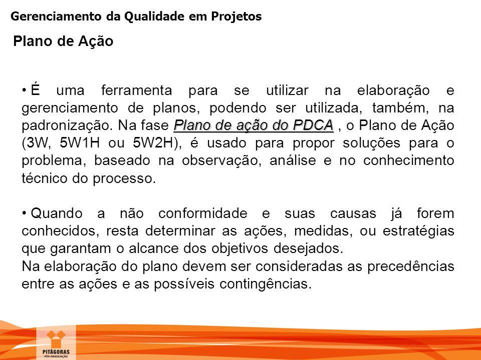 Gerenciamento da Qualidade em Projetos Plano de Ação Plano de ação do PDCA É uma ferramenta para se utilizar na elaboração e gerenciamento de planos,