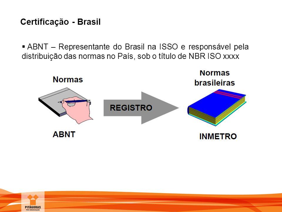 Certificação - Brasil  ABNT – Representante do Brasil na ISSO e responsável pela distribuição das normas no País, sob o título de NBR ISO xxxx