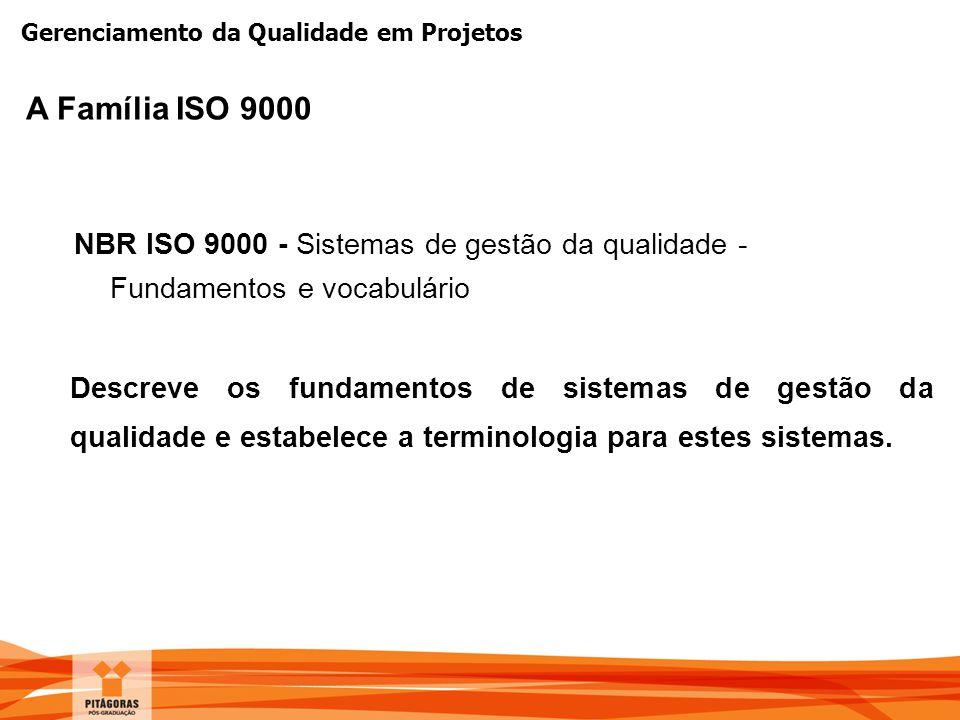 Gerenciamento da Qualidade em Projetos NBR ISO 9000 - Sistemas de gestão da qualidade - Fundamentos e vocabulário Descreve os fundamentos de sistemas