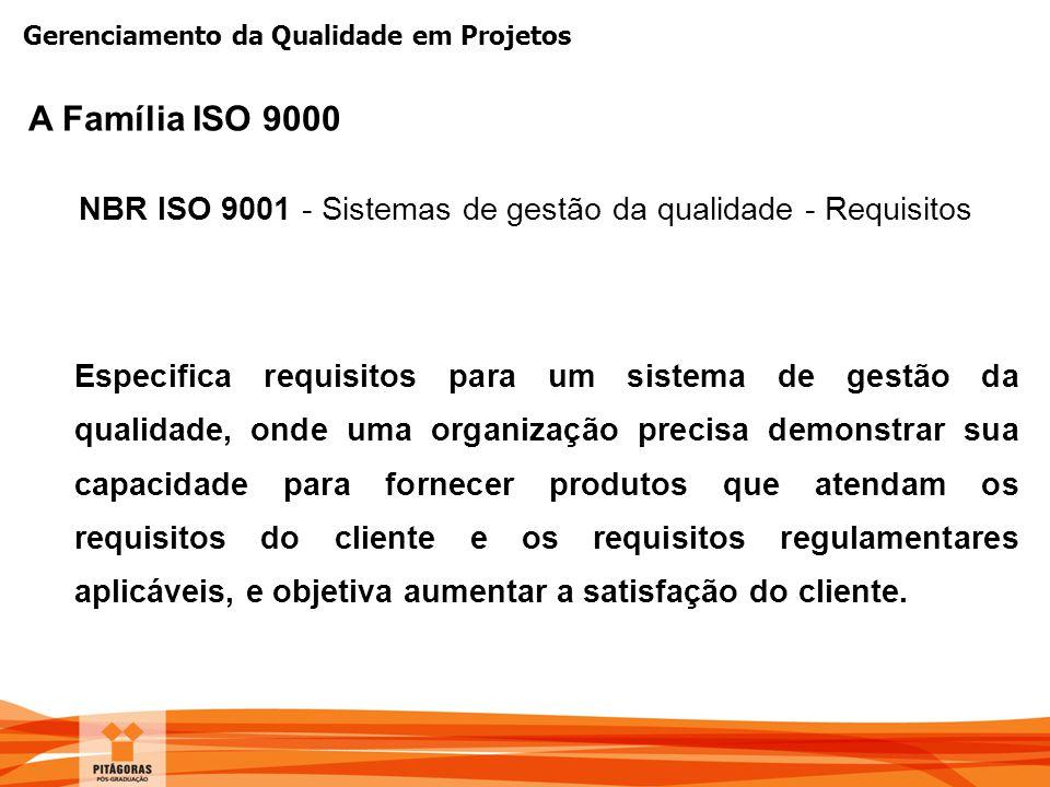 Gerenciamento da Qualidade em Projetos NBR ISO 9001 - Sistemas de gestão da qualidade - Requisitos Especifica requisitos para um sistema de gestão da