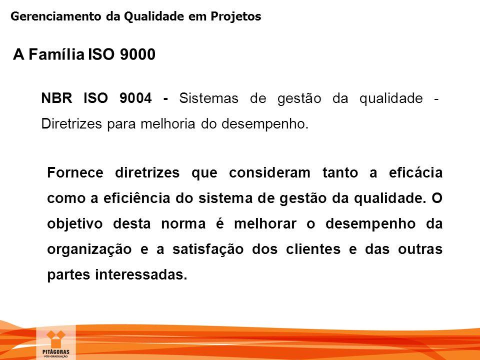 Gerenciamento da Qualidade em Projetos NBR ISO 9004 - Sistemas de gestão da qualidade - Diretrizes para melhoria do desempenho. Fornece diretrizes que