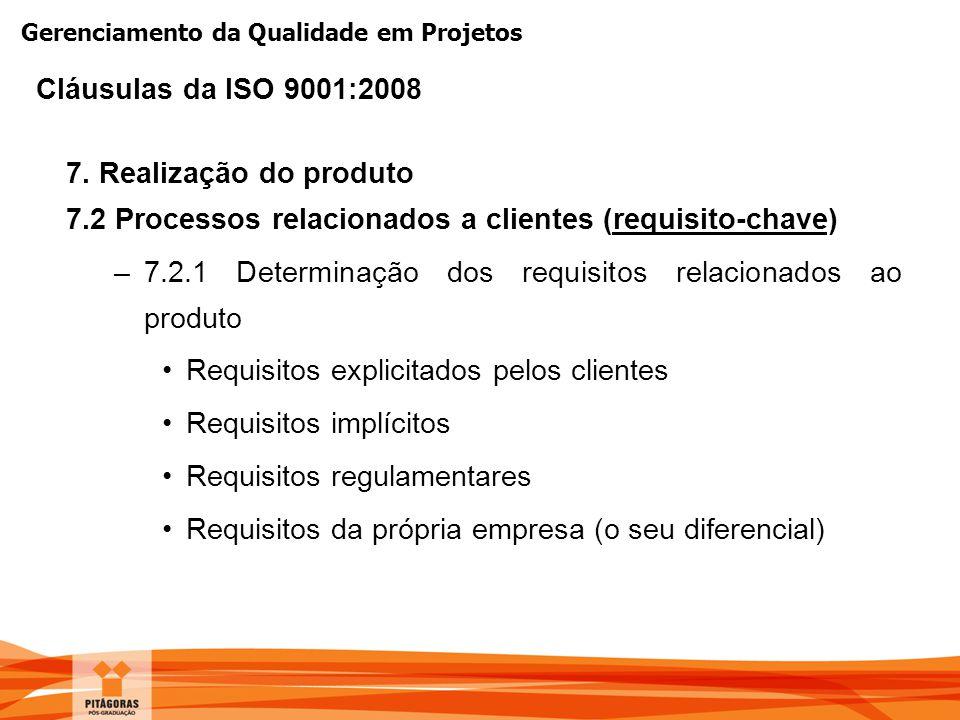 Gerenciamento da Qualidade em Projetos 7. Realização do produto 7.2 Processos relacionados a clientes (requisito-chave) –7.2.1 Determinação dos requis
