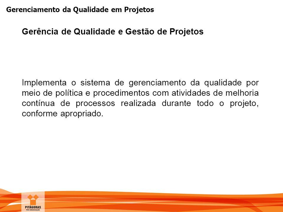 Gerenciamento da Qualidade em Projetos Implementa o sistema de gerenciamento da qualidade por meio de política e procedimentos com atividades de melho