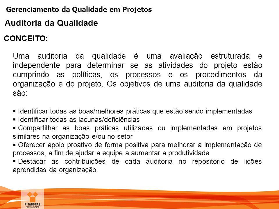 Gerenciamento da Qualidade em Projetos CONCEITO: Auditoria da Qualidade Uma auditoria da qualidade é uma avaliação estruturada e independente para det
