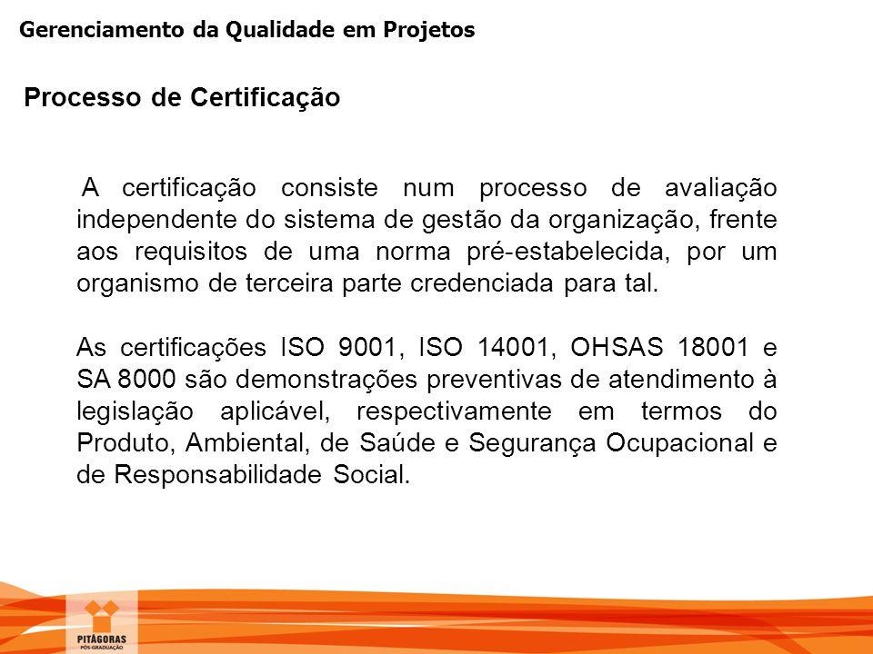 Gerenciamento da Qualidade em Projetos A certificação consiste num processo de avaliação independente do sistema de gestão da organização, frente aos