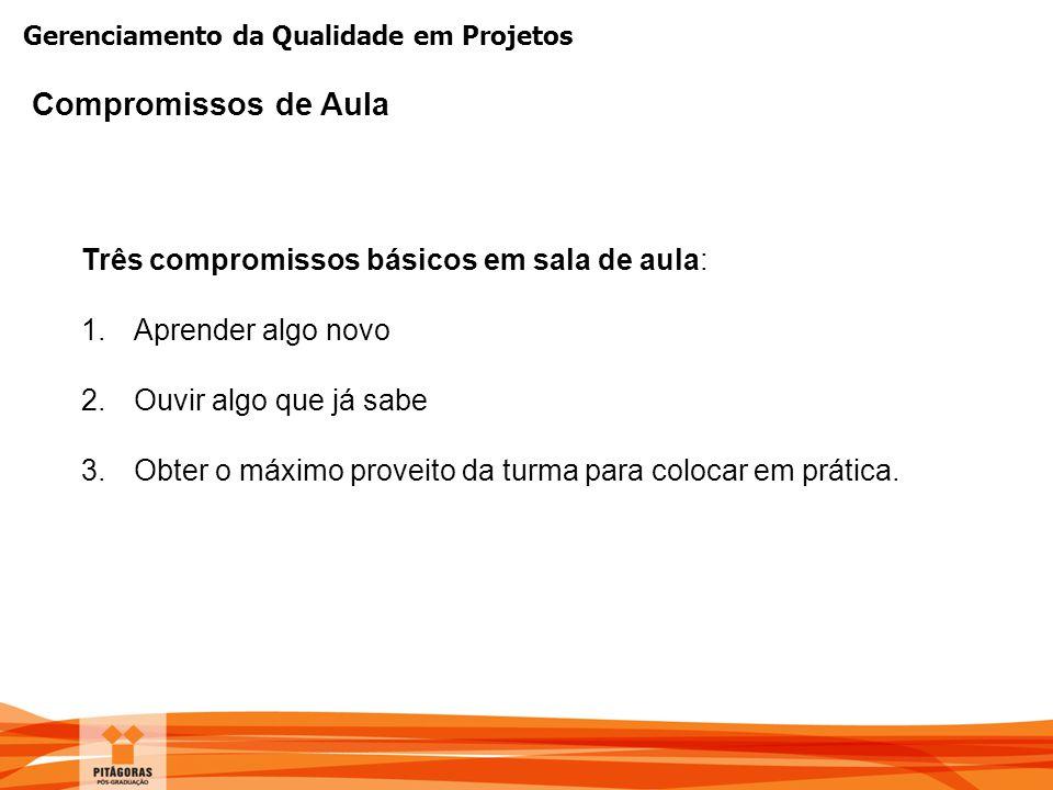 Gerenciamento da Qualidade em Projetos Cronograma das Aulas Horário25/10/2014 (Sábado) 01/10/2014 (Sábado) 08h00 -10h30Introdução à Gestão de Projetos Processos da Gestão da qualidade PDCA 10h30 -10h45Intervalo 10h45 -12h00Processo planejar o gerenciamento da qualidade Ferramentas para Planejamento, Garantia e o Controle da Qualidade 12h00 -14h00Almoço 14h00 -15h35Processo realizar a garantia da qualidade Processo controlar a qualidade Ferramentas para Planejamento, Garantia e o Controle da Qualidade 15h35 -15h50Intervalo 15h50 -18h00Conceitos de qualidade Sistema de Gestão da Qualidade Custos da Qualidade Auditoria da Qualidade