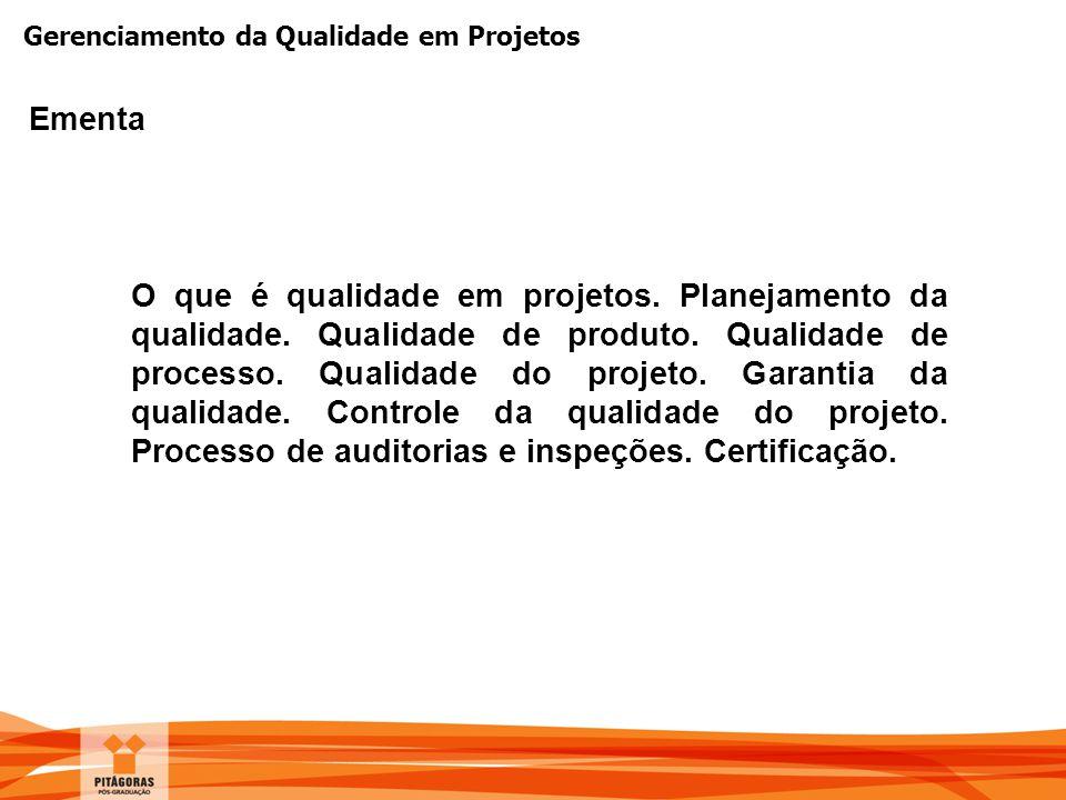 Gerenciamento da Qualidade em Projetos Ementa O que é qualidade em projetos. Planejamento da qualidade. Qualidade de produto. Qualidade de processo. Q