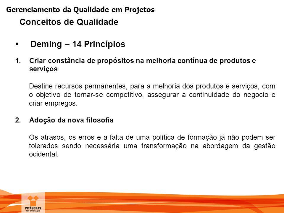 Gerenciamento da Qualidade em Projetos  Deming – 14 Princípios 1.Criar constância de propósitos na melhoria contínua de produtos e serviços Destine r
