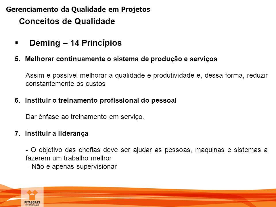Gerenciamento da Qualidade em Projetos  Deming – 14 Princípios 5.Melhorar continuamente o sistema de produção e serviços Assim e possível melhorar a