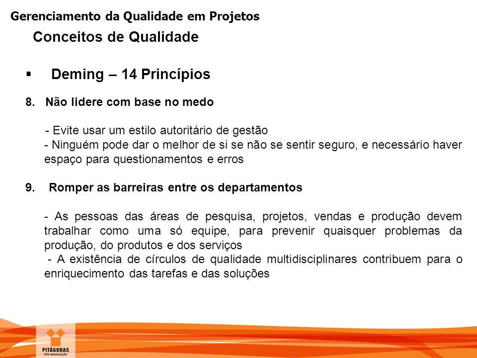 Gerenciamento da Qualidade em Projetos  Deming – 14 Princípios 8. Não lidere com base no medo - Evite usar um estilo autoritário de gestão - Ninguém