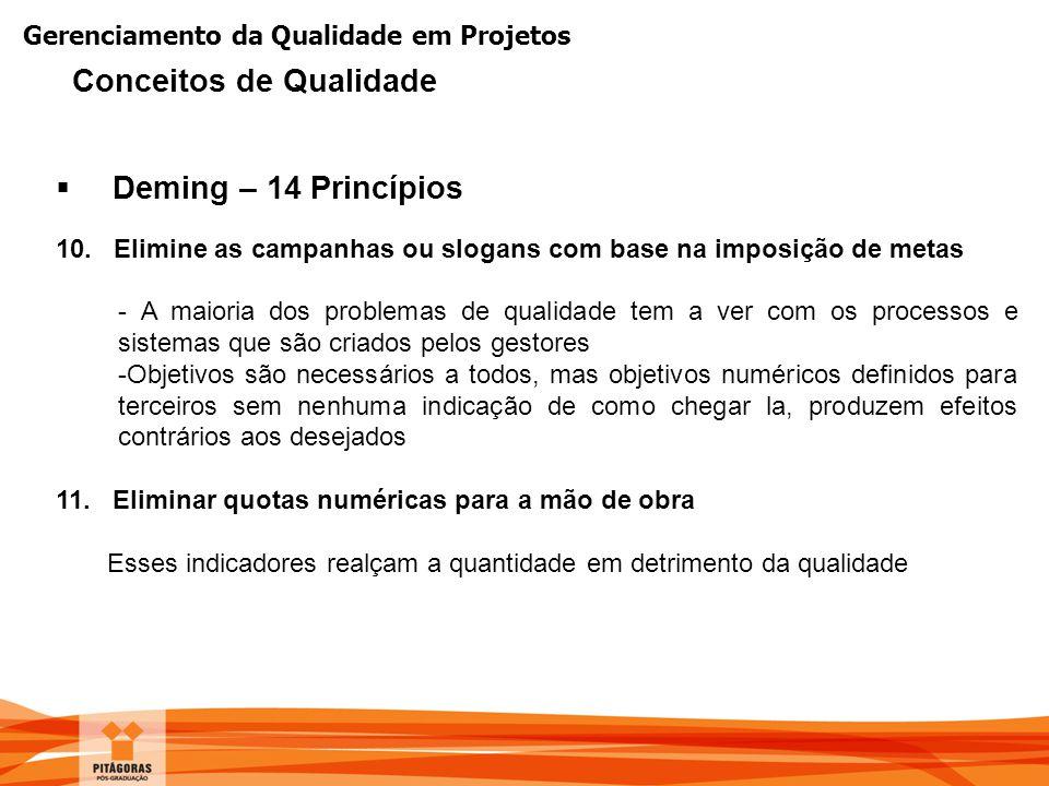 Gerenciamento da Qualidade em Projetos  Deming – 14 Princípios 10. Elimine as campanhas ou slogans com base na imposição de metas - A maioria dos pro