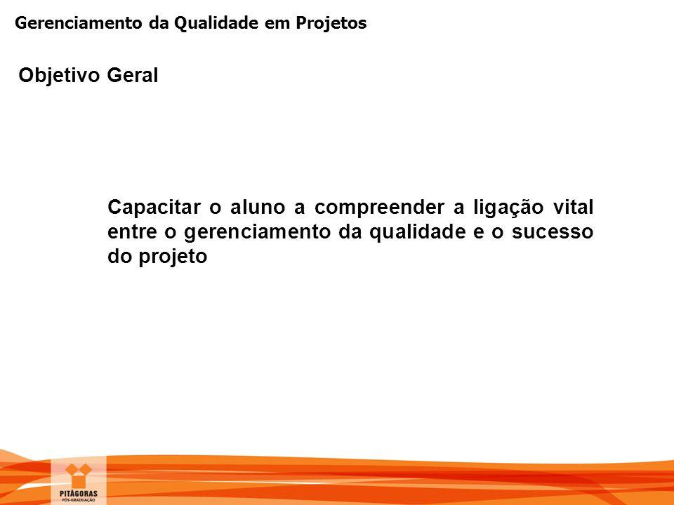 Gerenciamento da Qualidade em Projetos Contatos gerisval@terra.com.br http://www.scribd.com/gerisval http://www.twitter.com/gerisval http://www.gerisval.blogspot.com http://www.facebook.com/gerisval http://www.linkedin.com/in/gerisval + 55 98 9114 4699
