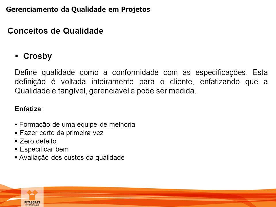 Gerenciamento da Qualidade em Projetos  Crosby Define qualidade como a conformidade com as especificações. Esta definição é voltada inteiramente para