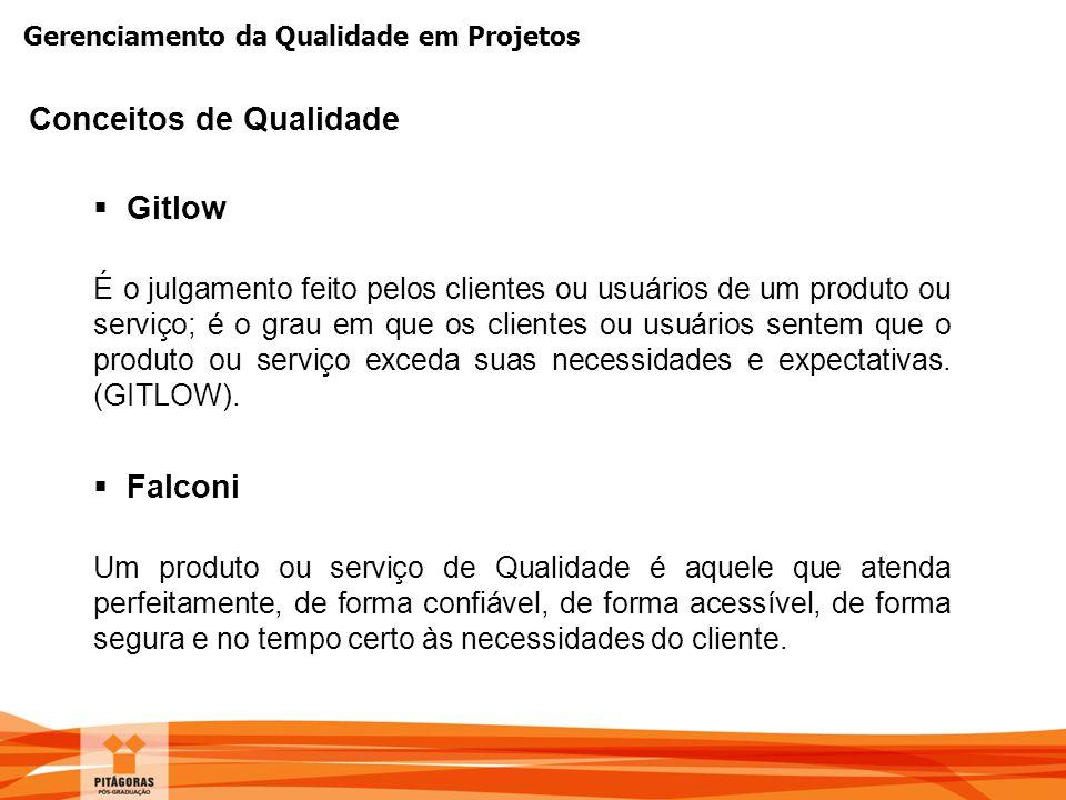 Gerenciamento da Qualidade em Projetos  Gitlow É o julgamento feito pelos clientes ou usuários de um produto ou serviço; é o grau em que os clientes