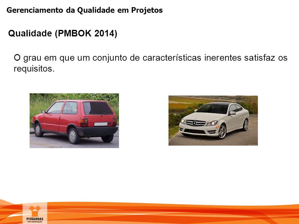 Gerenciamento da Qualidade em Projetos O grau em que um conjunto de características inerentes satisfaz os requisitos. Qualidade (PMBOK 2014)