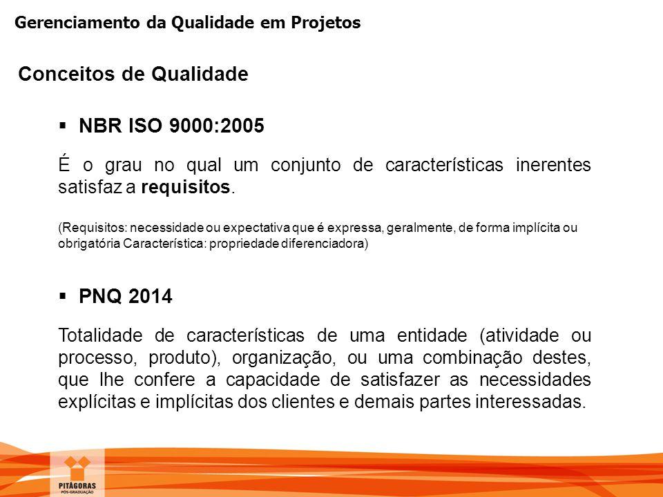 Gerenciamento da Qualidade em Projetos  PNQ 2014 Totalidade de características de uma entidade (atividade ou processo, produto), organização, ou uma