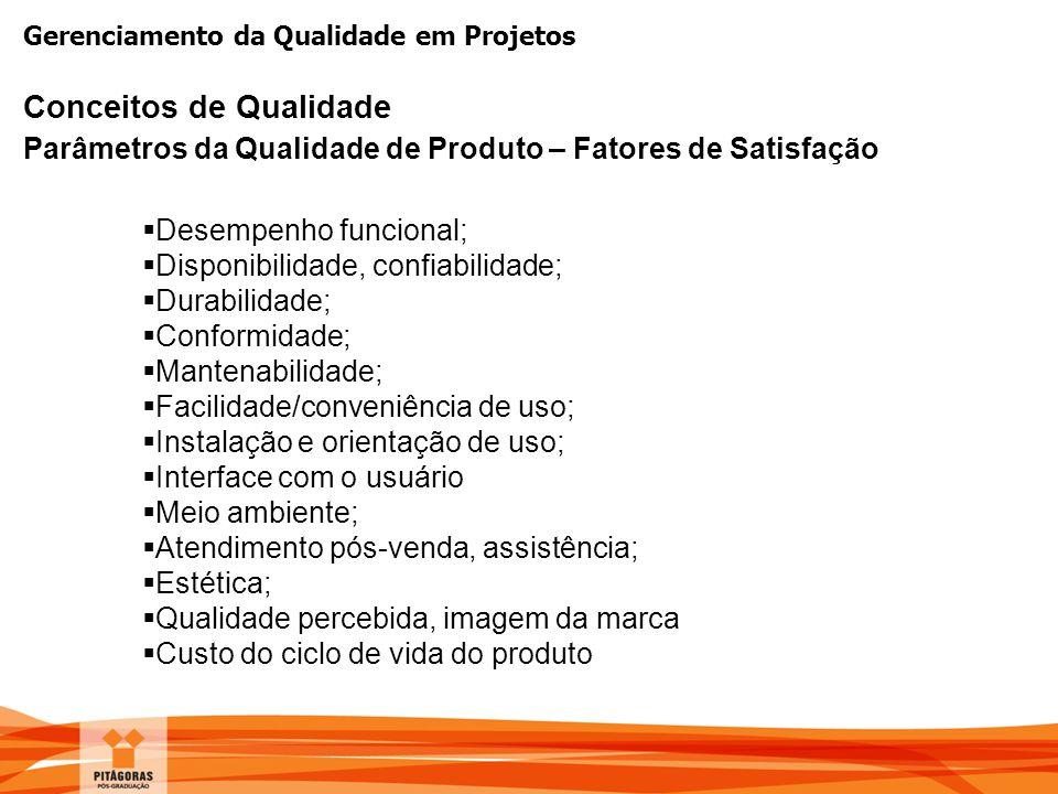 Gerenciamento da Qualidade em Projetos Conceitos de Qualidade Parâmetros da Qualidade de Produto – Fatores de Satisfação  Desempenho funcional;  Dis
