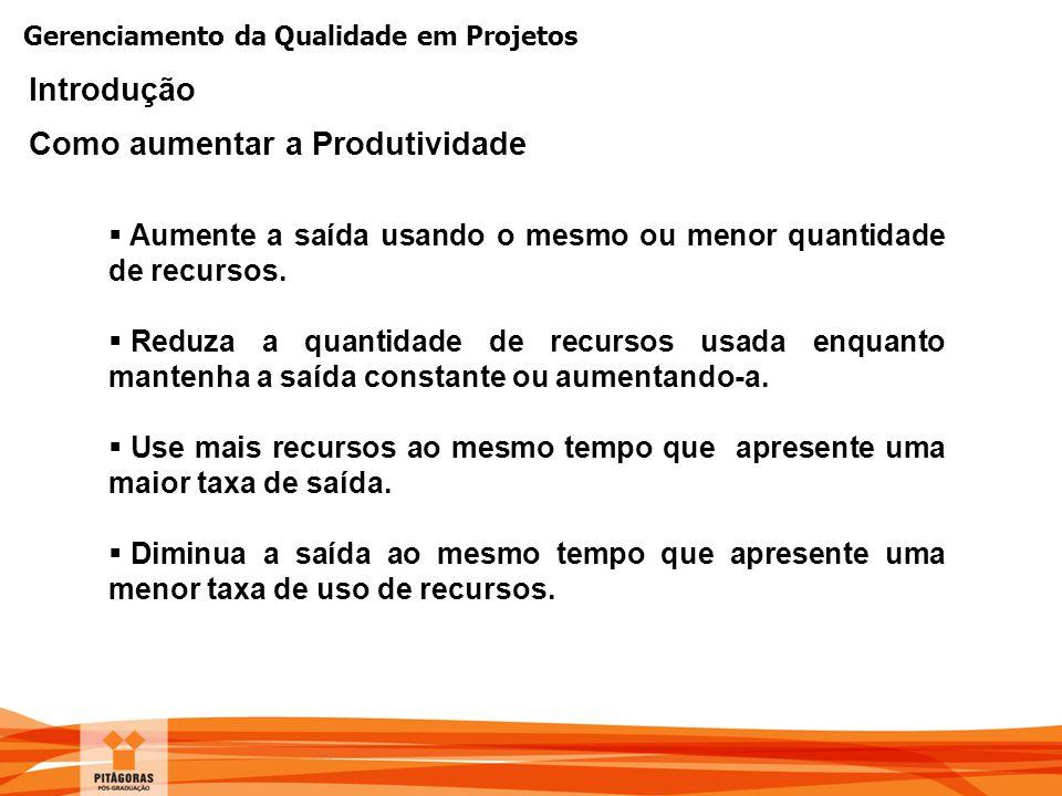 Gerenciamento da Qualidade em Projetos Introdução Como aumentar a Produtividade  Aumente a saída usando o mesmo ou menor quantidade de recursos.  Re