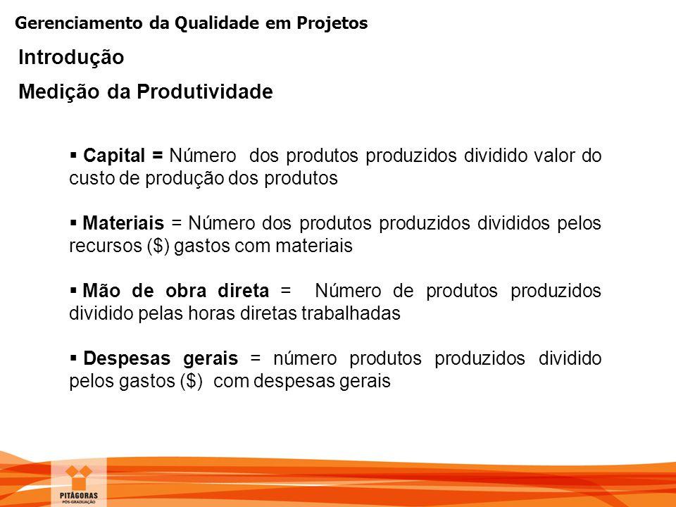 Gerenciamento da Qualidade em Projetos Introdução Medição da Produtividade  Capital = Número dos produtos produzidos dividido valor do custo de produ