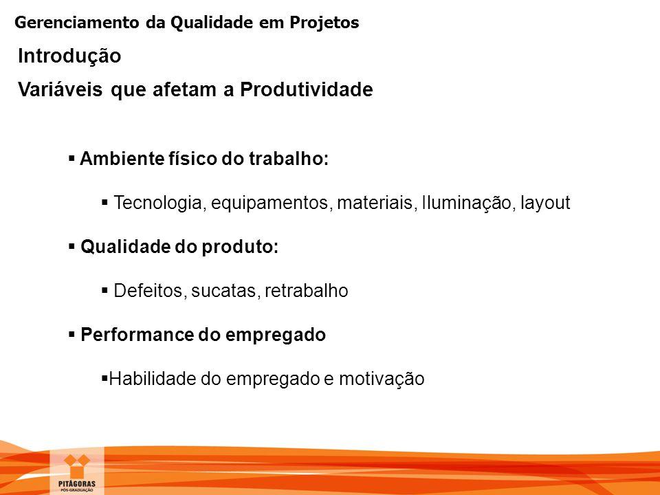 Gerenciamento da Qualidade em Projetos Introdução Variáveis que afetam a Produtividade  Ambiente físico do trabalho:  Tecnologia, equipamentos, mate