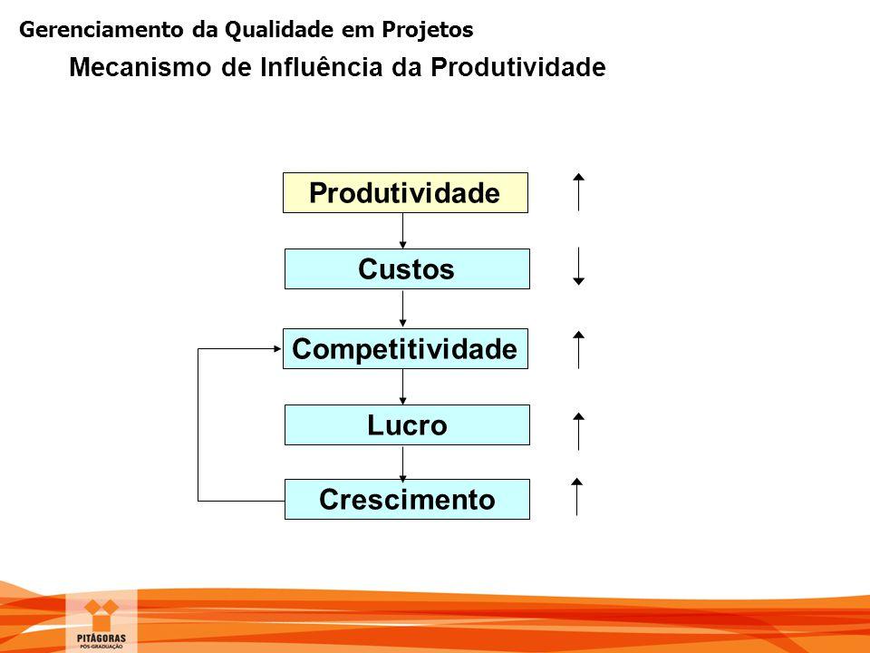 Gerenciamento da Qualidade em Projetos Mecanismo de Influência da Produtividade Produtividade Custos Competitividade Lucro Crescimento