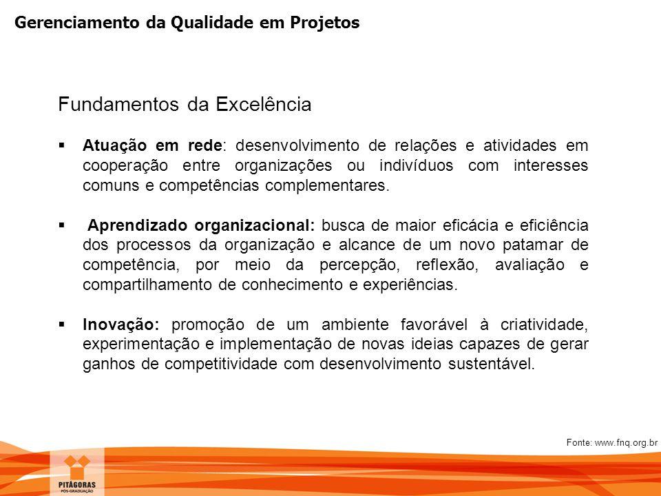 Gerenciamento da Qualidade em Projetos Fundamentos da Excelência  Atuação em rede: desenvolvimento de relações e atividades em cooperação entre organ