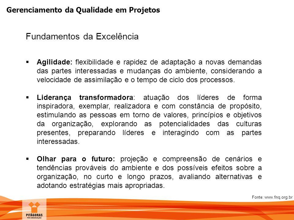 Gerenciamento da Qualidade em Projetos Fundamentos da Excelência  Agilidade: flexibilidade e rapidez de adaptação a novas demandas das partes interes