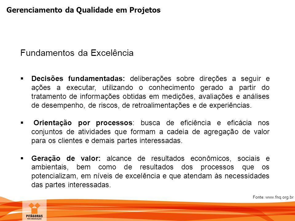 Gerenciamento da Qualidade em Projetos Fundamentos da Excelência  Decisões fundamentadas: deliberações sobre direções a seguir e ações a executar, ut