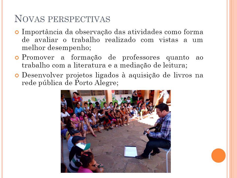 N OVAS PERSPECTIVAS Importância da observação das atividades como forma de avaliar o trabalho realizado com vistas a um melhor desempenho; Promover a