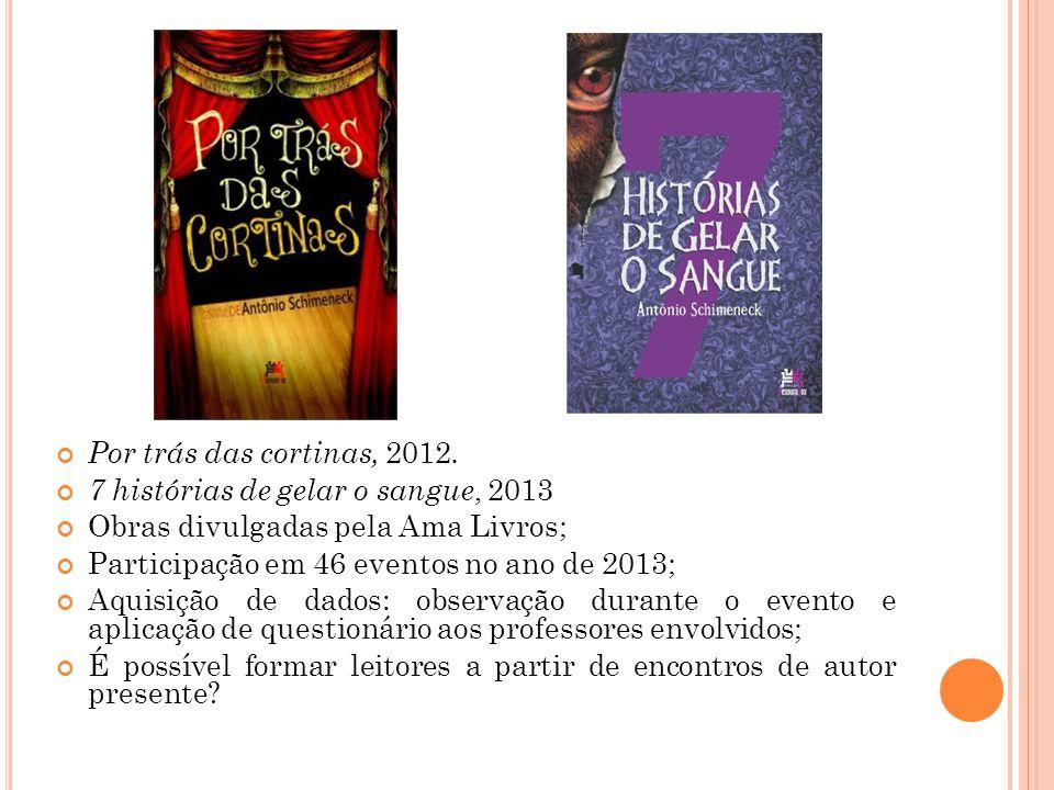 Por trás das cortinas, 2012. 7 histórias de gelar o sangue, 2013 Obras divulgadas pela Ama Livros; Participação em 46 eventos no ano de 2013; Aquisiçã