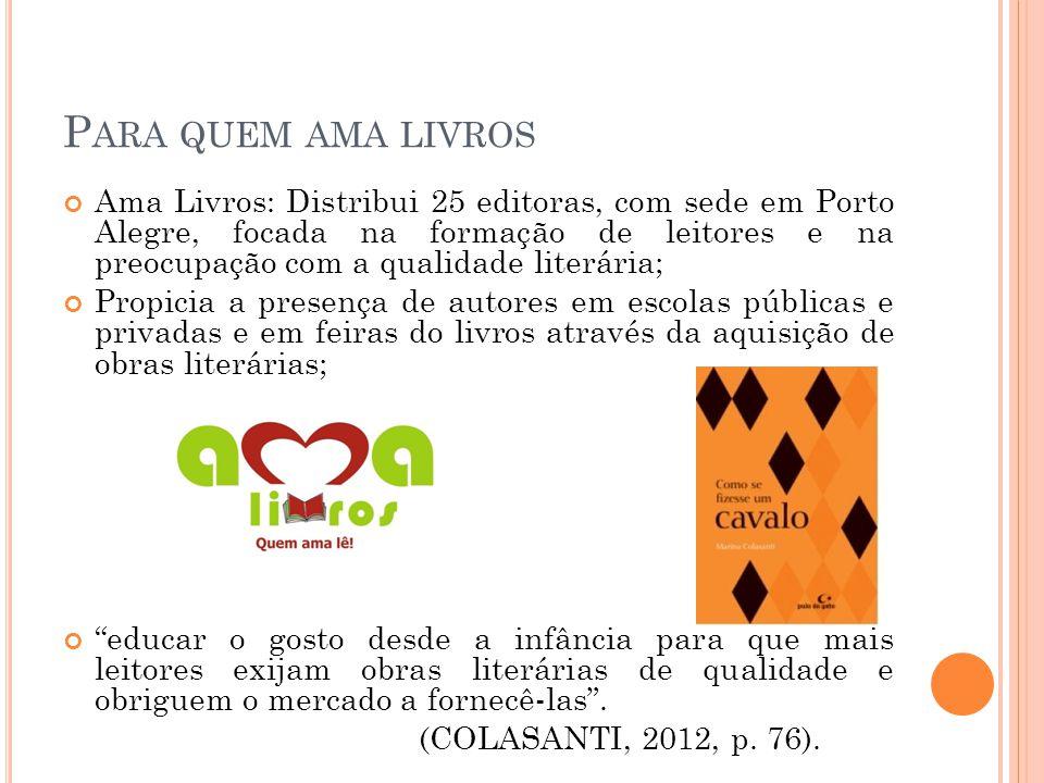 P ARA QUEM AMA LIVROS Ama Livros: Distribui 25 editoras, com sede em Porto Alegre, focada na formação de leitores e na preocupação com a qualidade literária; Propicia a presença de autores em escolas públicas e privadas e em feiras do livros através da aquisição de obras literárias; educar o gosto desde a infância para que mais leitores exijam obras literárias de qualidade e obriguem o mercado a fornecê-las .