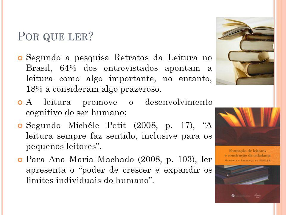 P OR QUE LER ? Segundo a pesquisa Retratos da Leitura no Brasil, 64% dos entrevistados apontam a leitura como algo importante, no entanto, 18% a consi