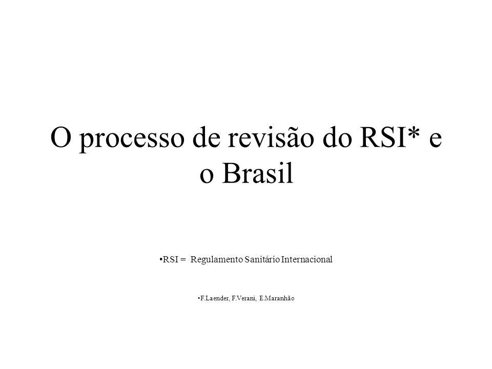 O processo de revisão do RSI* e o Brasil RSI = Regulamento Sanitário Internacional F.Laender, F.Verani, E.Maranhão