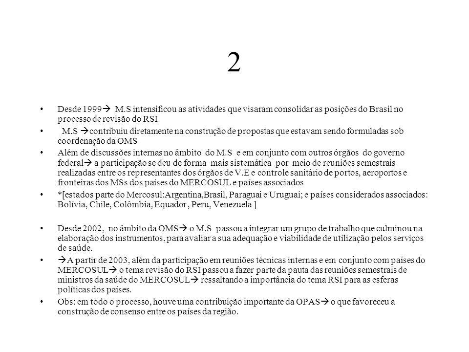 2 Desde 1999  M.S intensificou as atividades que visaram consolidar as posições do Brasil no processo de revisão do RSI M.S  contribuiu diretamente