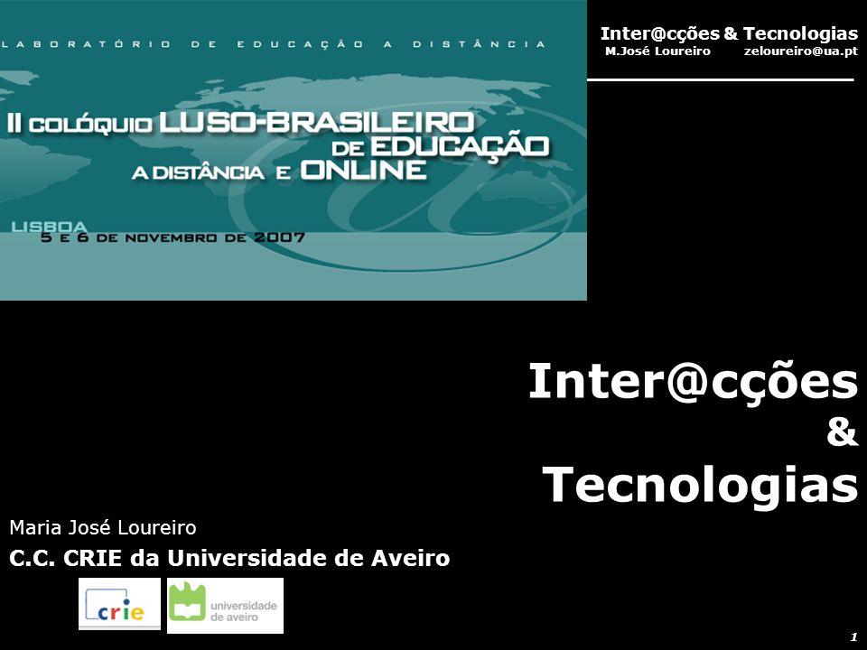Inter@cções & Tecnologias M.José Loureiro zeloureiro@ua.pt 1 Inter@cções & Tecnologias Maria José Loureiro C.C.