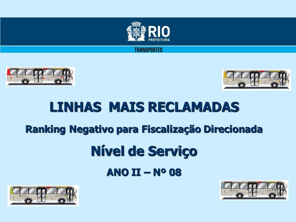 LINHAS MAIS RECLAMADAS Ranking Negativo para Fiscalização Direcionada Nível de Serviço ANO II – Nº 08