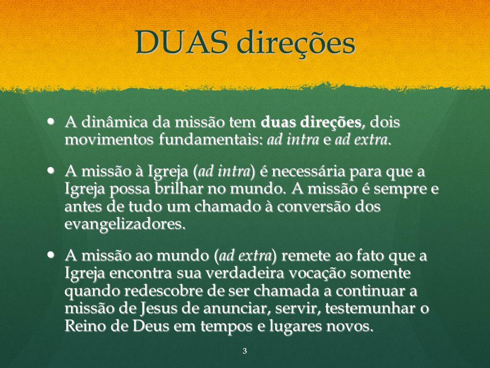 DUAS direções A dinâmica da missão tem duas direções, dois movimentos fundamentais: ad intra e ad extra.