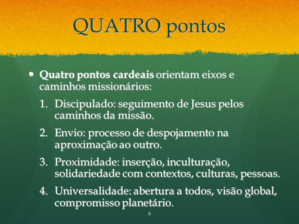 QUATRO pontos Quatro pontos cardeais orientam eixos e caminhos missionários: Quatro pontos cardeais orientam eixos e caminhos missionários: 1.Discipulado: seguimento de Jesus pelos caminhos da missão.