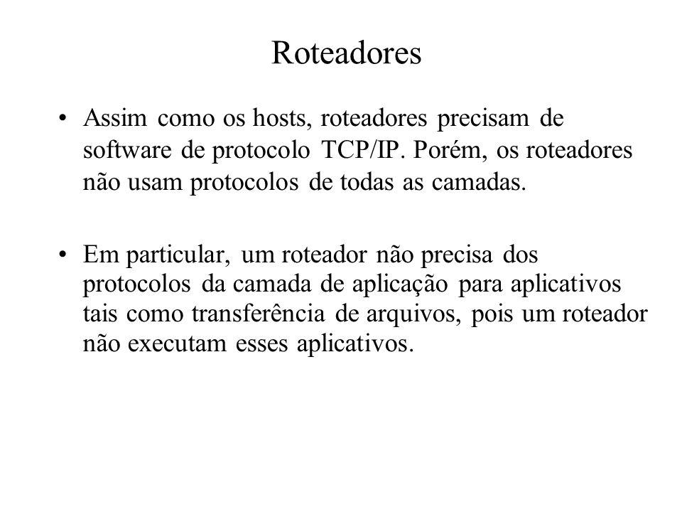 Roteadores Assim como os hosts, roteadores precisam de software de protocolo TCP/IP. Porém, os roteadores não usam protocolos de todas as camadas. Em