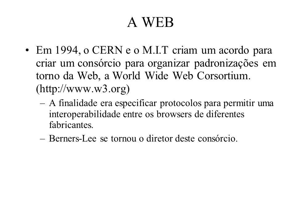 A WEB Em 1994, o CERN e o M.I.T criam um acordo para criar um consórcio para organizar padronizações em torno da Web, a World Wide Web Corsortium. (ht