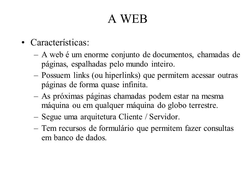 A WEB Características: –A web é um enorme conjunto de documentos, chamadas de páginas, espalhadas pelo mundo inteiro. –Possuem links (ou hiperlinks) q