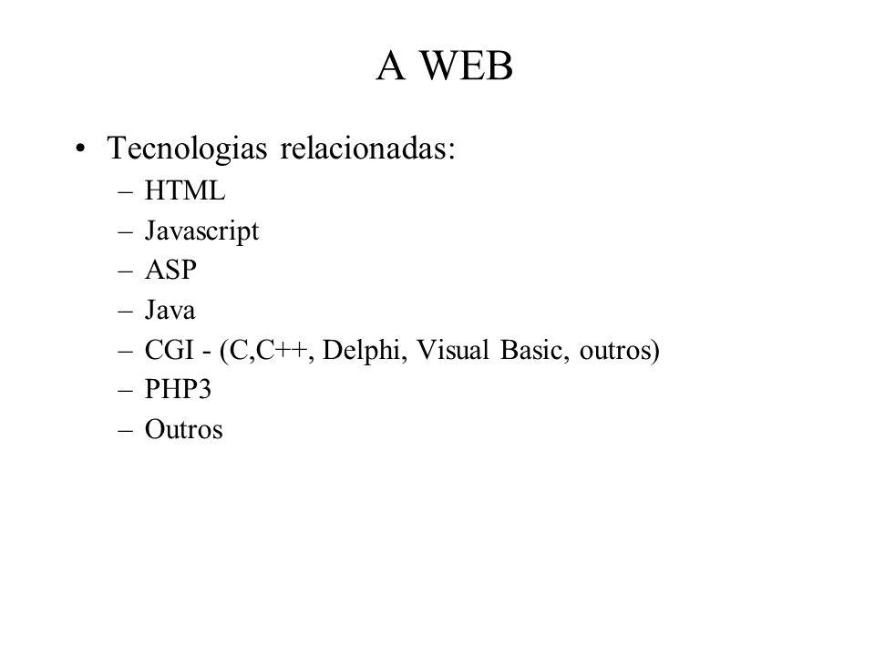 A WEB Tecnologias relacionadas: –HTML –Javascript –ASP –Java –CGI - (C,C++, Delphi, Visual Basic, outros) –PHP3 –Outros