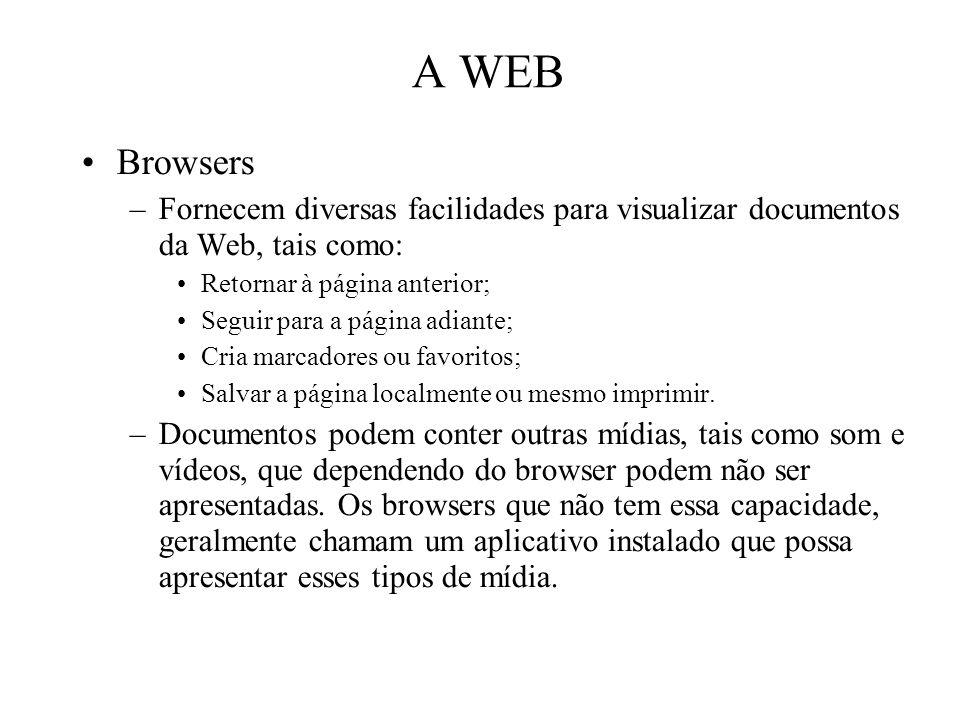 A WEB Browsers –Fornecem diversas facilidades para visualizar documentos da Web, tais como: Retornar à página anterior; Seguir para a página adiante;